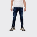 Men's Tribal Society Limited Edition Distressed Orange Paint Splash Jeans - Blue