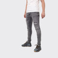 Men's Tribal Society TRBL Range Distressed Paint Splash Jeans - Light Grey
