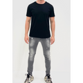 Men's Tribal Society Mercerised Black Mesh TS Logo T Shirt - Black