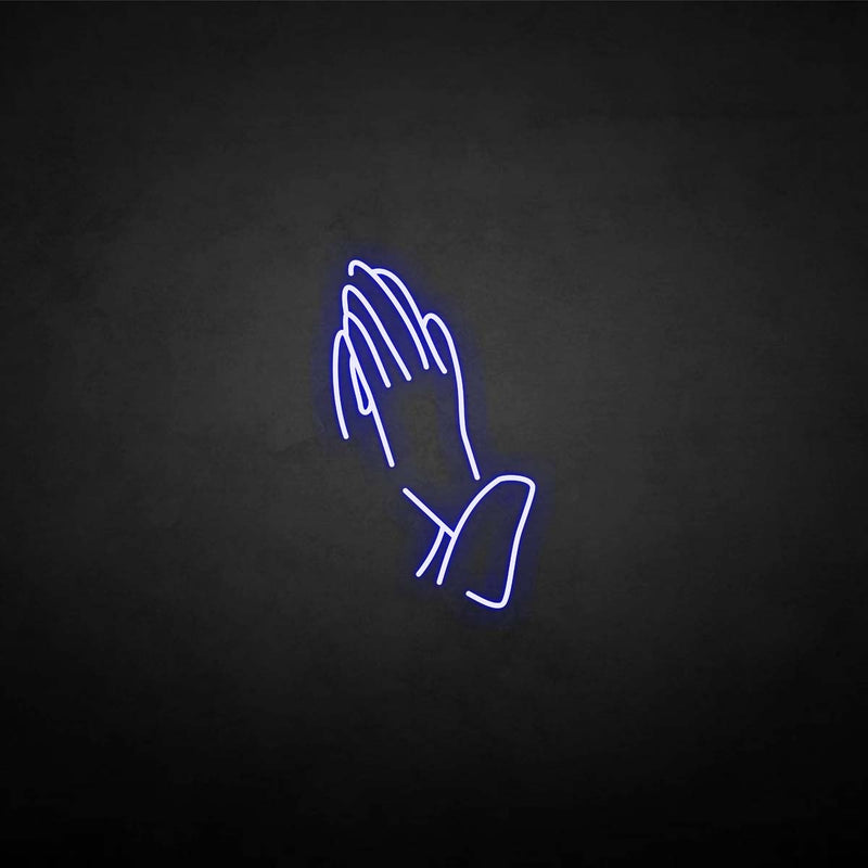 'Hand of Pray' neon sign