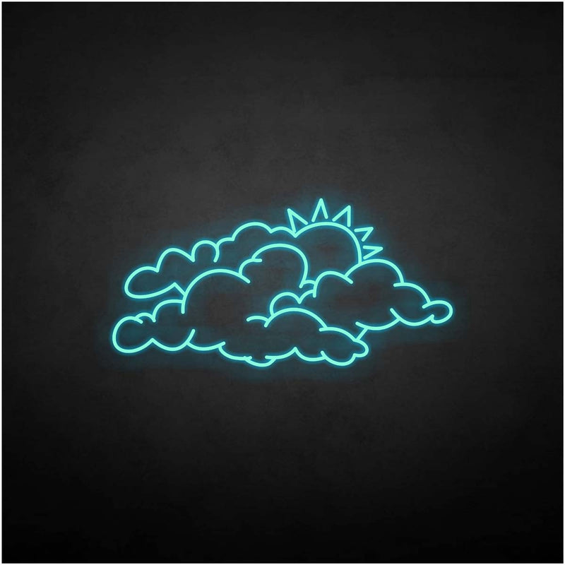 'cloud and sun' neon sign
