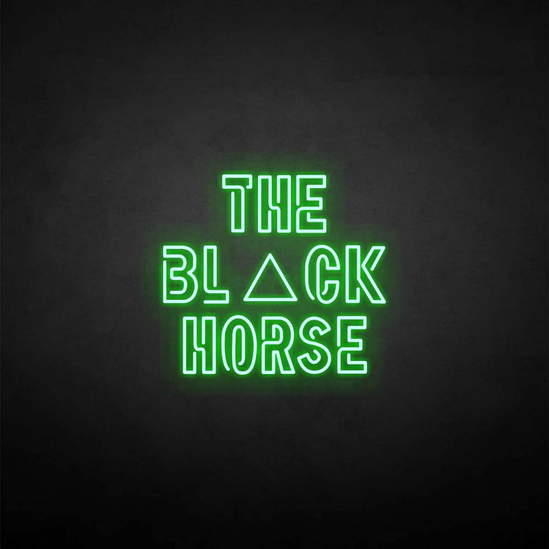 'The black horse' neon sign
