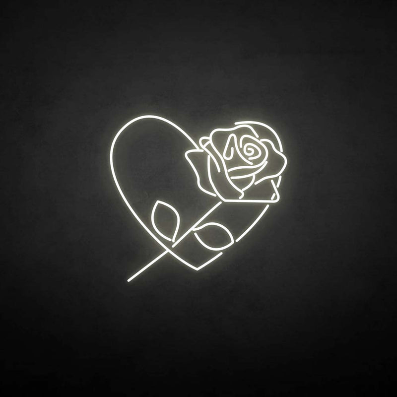 'Rose with heart' neon sign