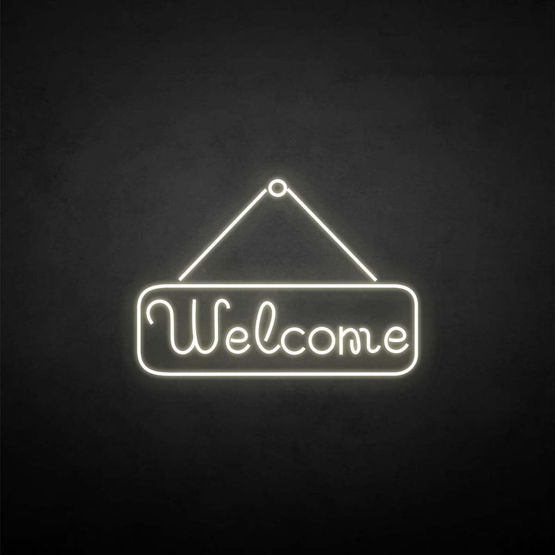 'Welcome' neon sign