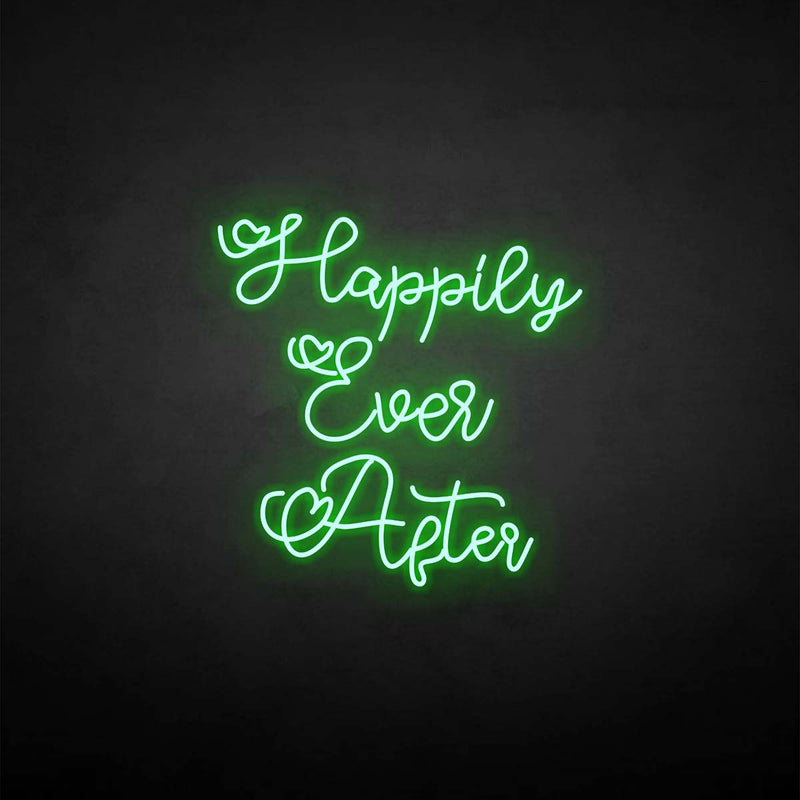 'happily ever after 3' neon sign