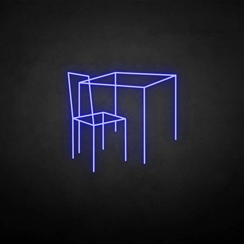 'Table and chairs' neon sign