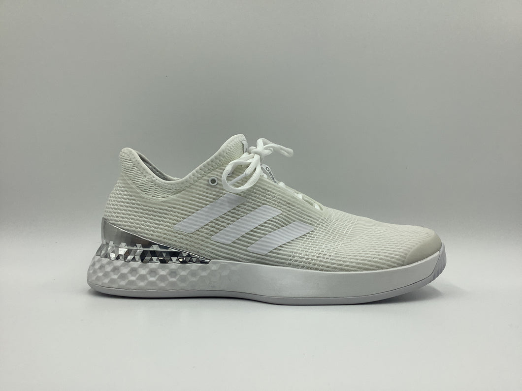 Adidas Men's Adizero Ubersonic 3 - White and Silver Tennis Shoes