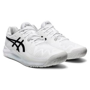 Asics Men's Gel Resolution 8 Tennis Shoes - White and Grey