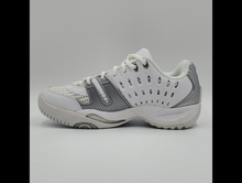 Load image into Gallery viewer, Prince Women's T22 Tennis Shoes - White and Silver