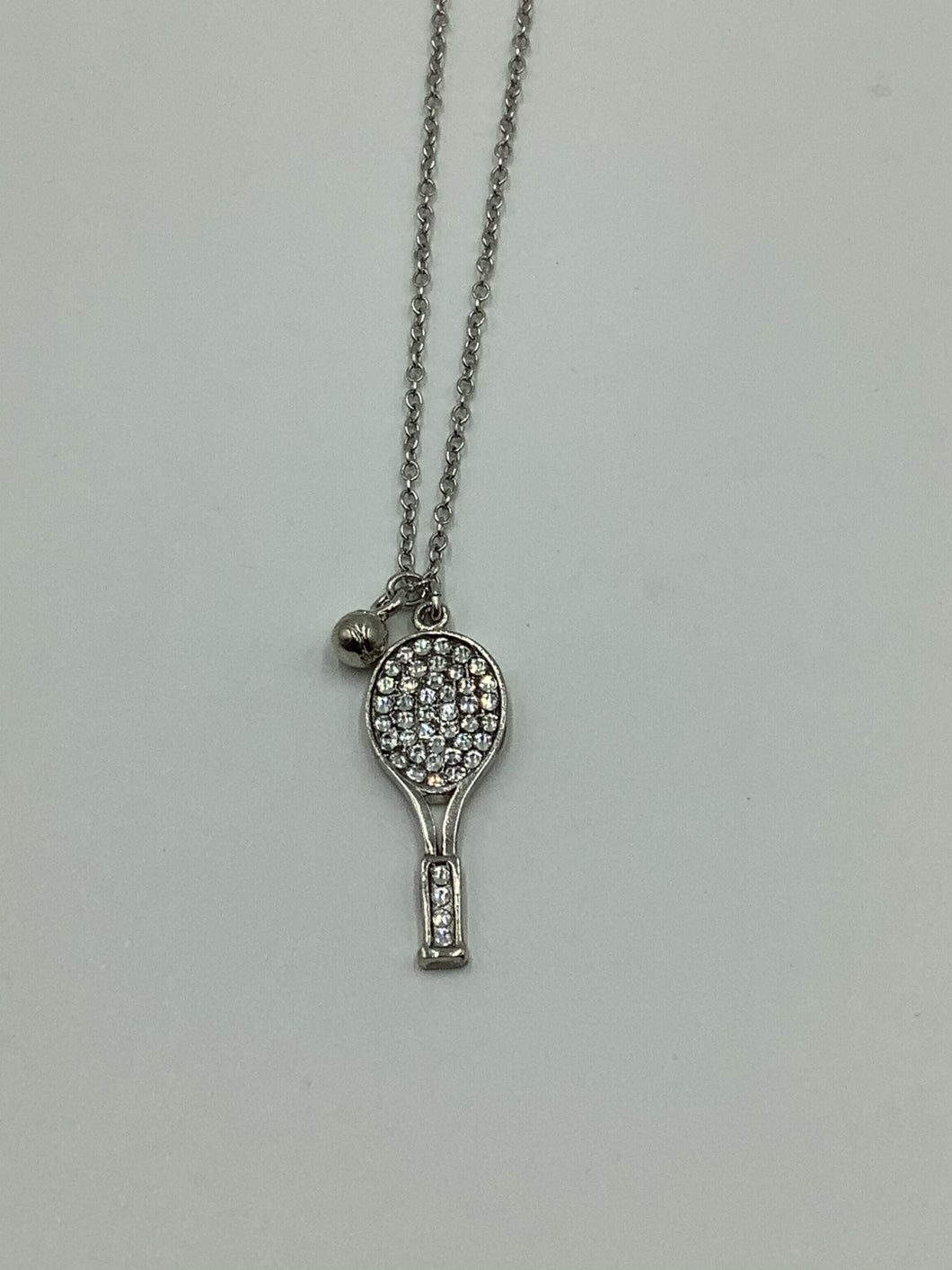 Emily Austin Crystal Tennis Racquet and Ball Necklace - Sterling Silver Chain