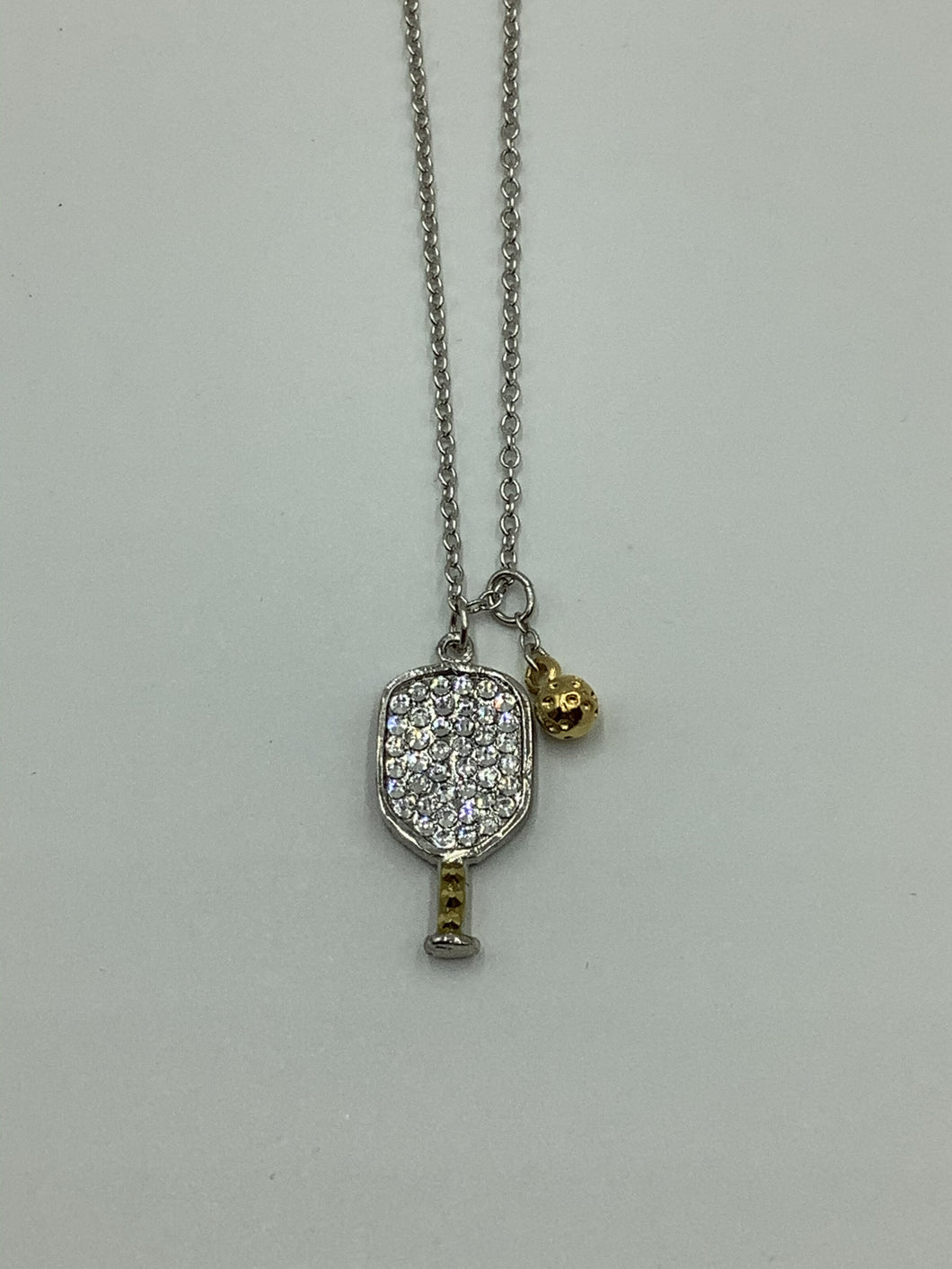 Emily Austin Gold Necklace with Large Crystal Pickleball Paddle