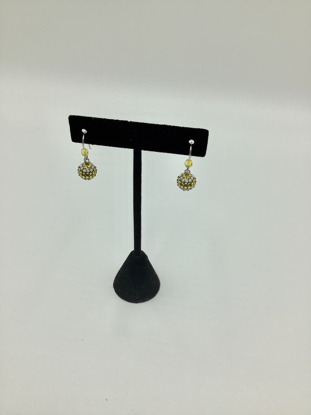 Emily Austin Crystal Tennis Ball Earrings - Yellow