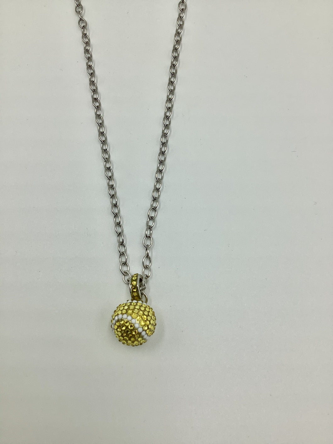 Emily Austin Swarovski Crystal 13mm Tennis Ball Necklace on Roller - Silver Chain