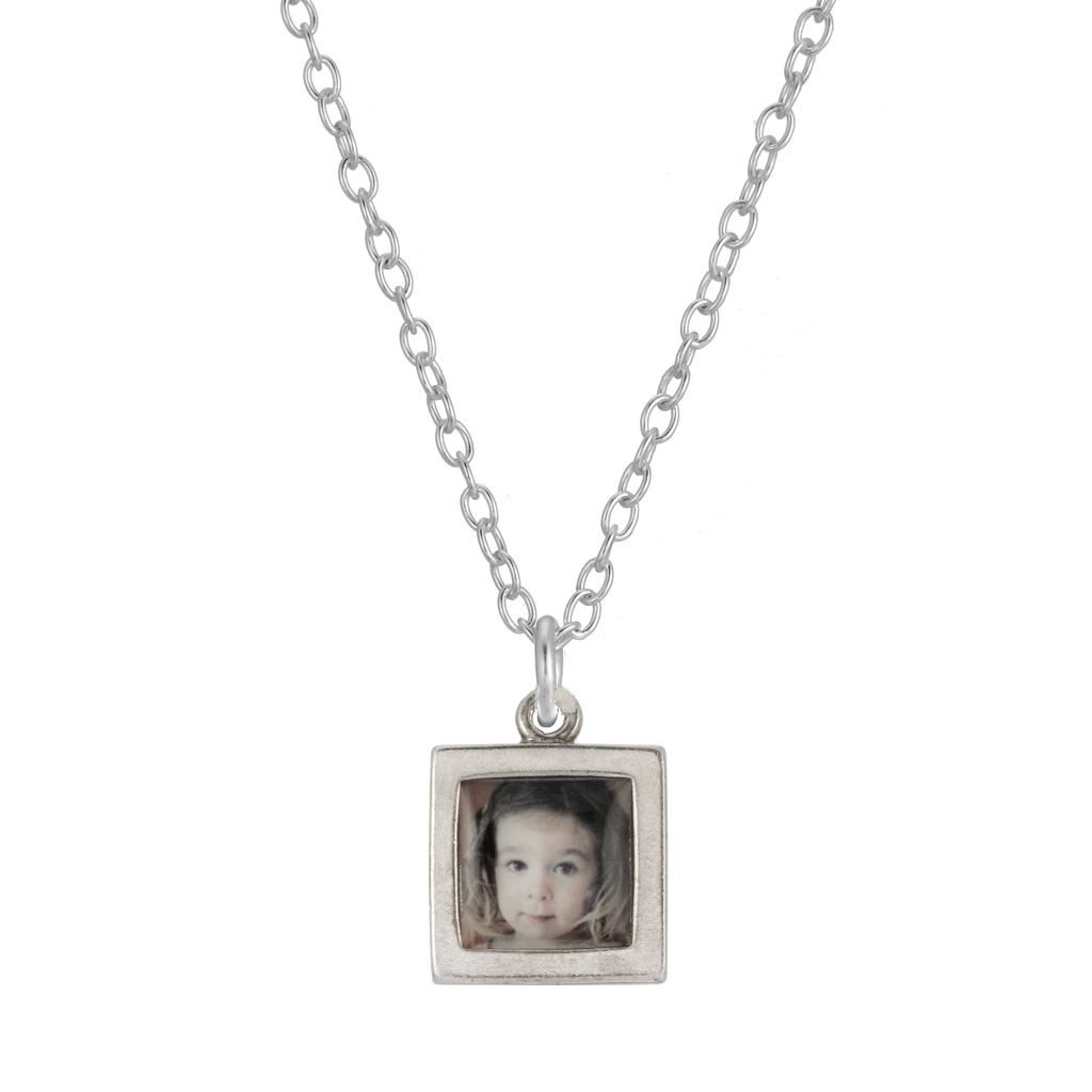 Square Photo Necklace - Sterling Silver