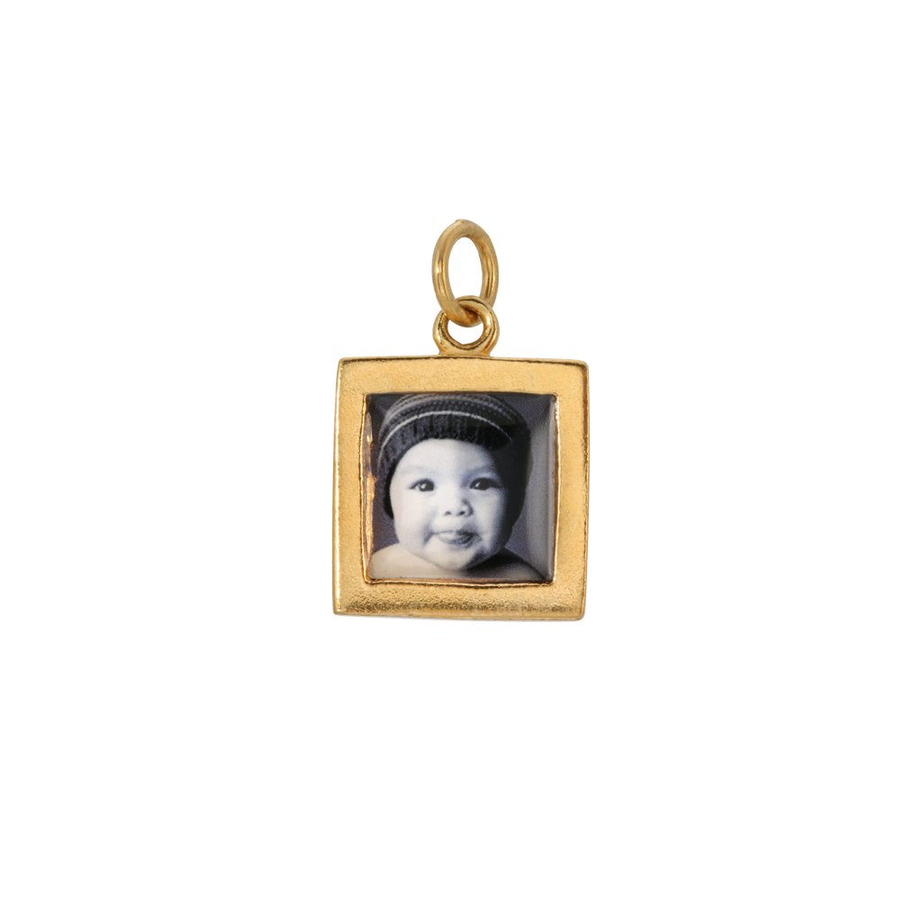Square Photo Charm - Dime-Sized - 14k Gold Dipped