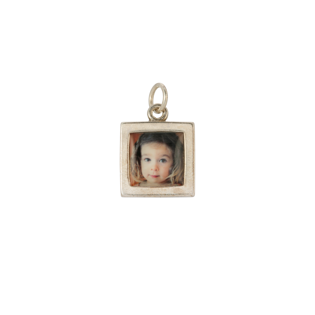 Square Photo Charm - Dime-Sized - Sterling Silver