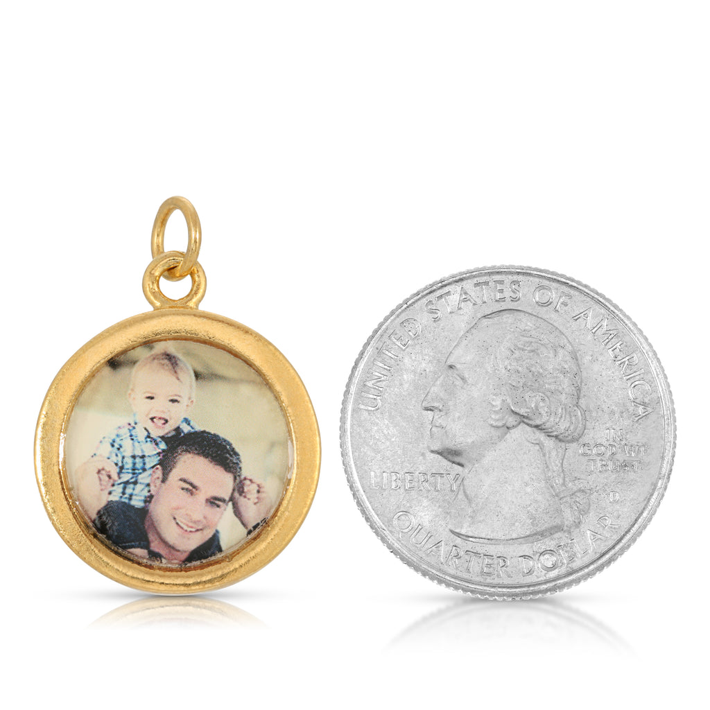 Sparkle Round Photo Charm - Nickel-Sized - 14k Gold Dipped