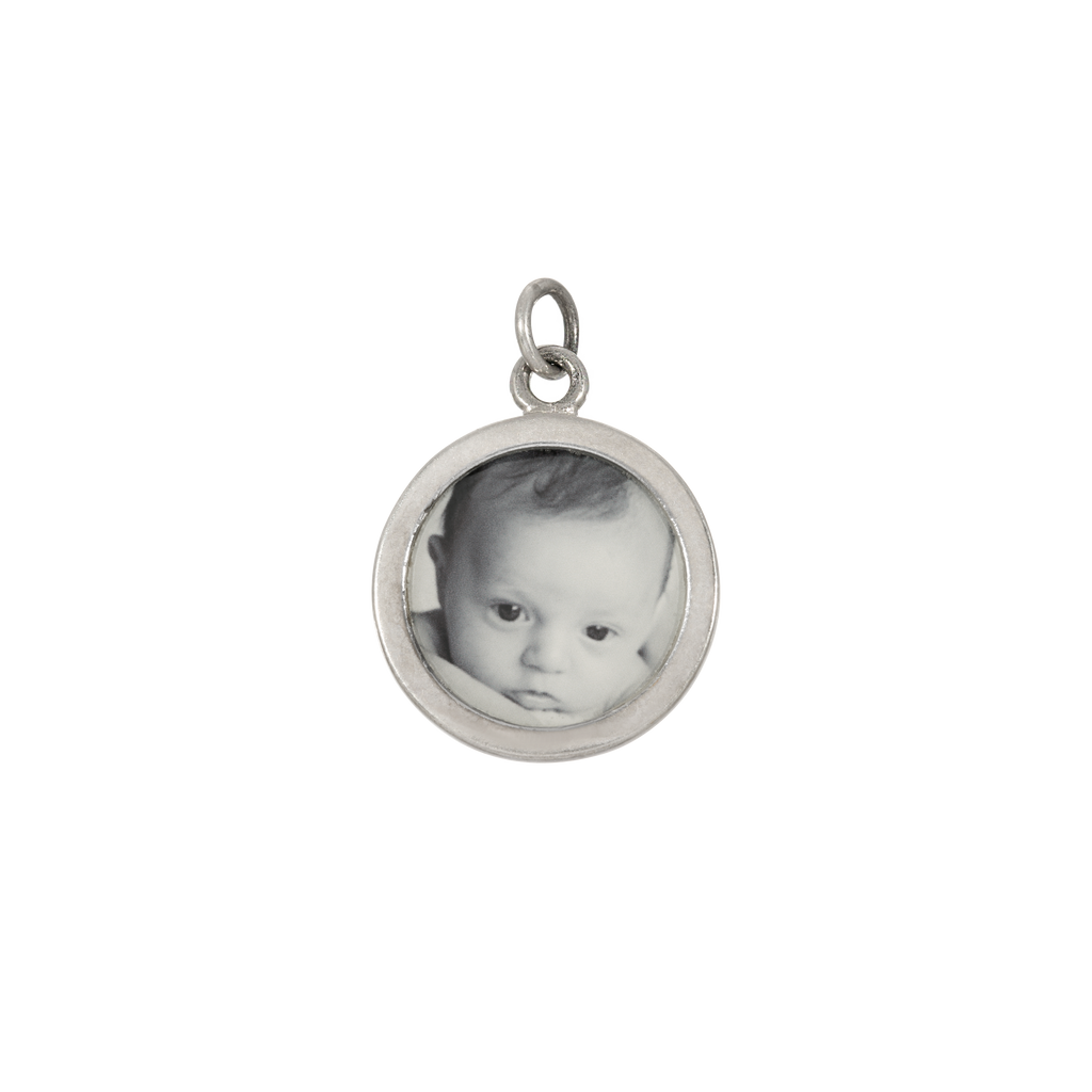 Round Photo Charm - Dime-Sized - Sterling Silver