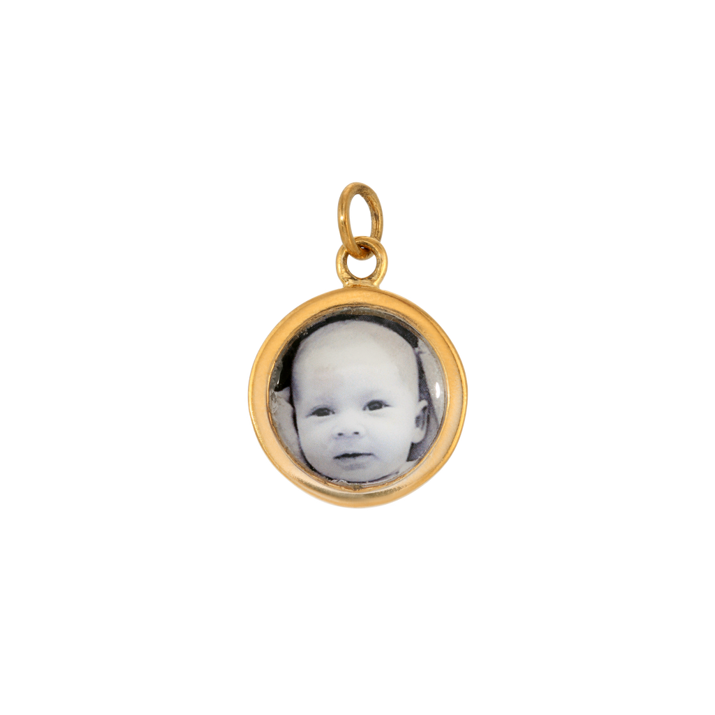 Round Photo Charm - Dime-Sized - 14k Gold Dipped