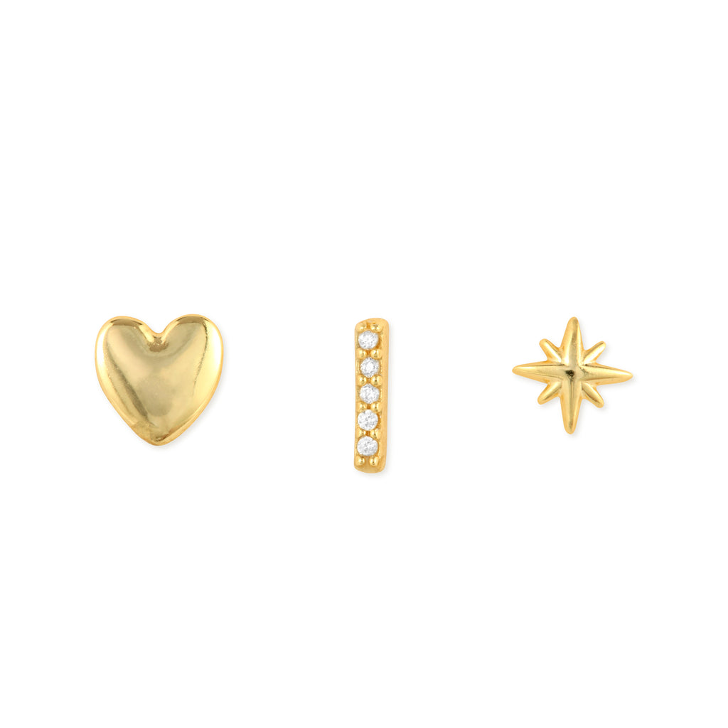 Tiny Heart Earrings - 14k Gold Vermeil