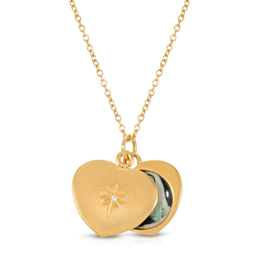 Diamond Heart Photo Locket - 14k Gold Dipped