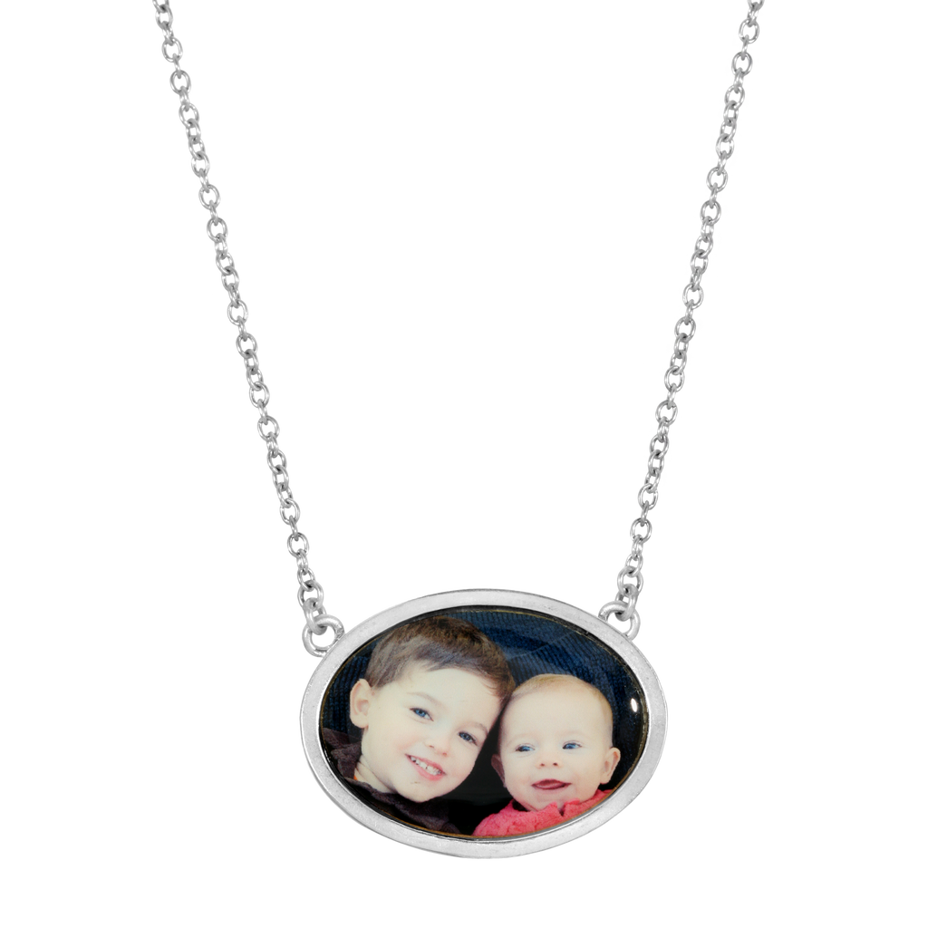 Oval Photo Necklace - Sterling Silver