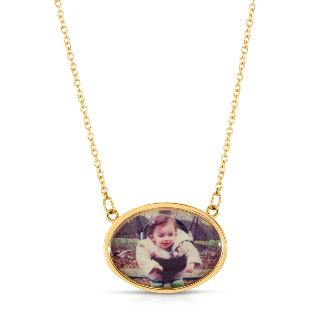 Oval Photo Necklace - 14k Gold Dipped