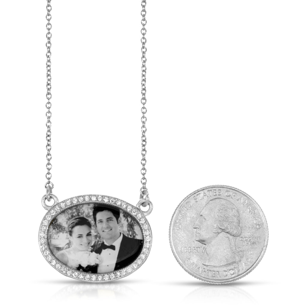 Sparkle Oval Photo Necklace - Sterling Silver