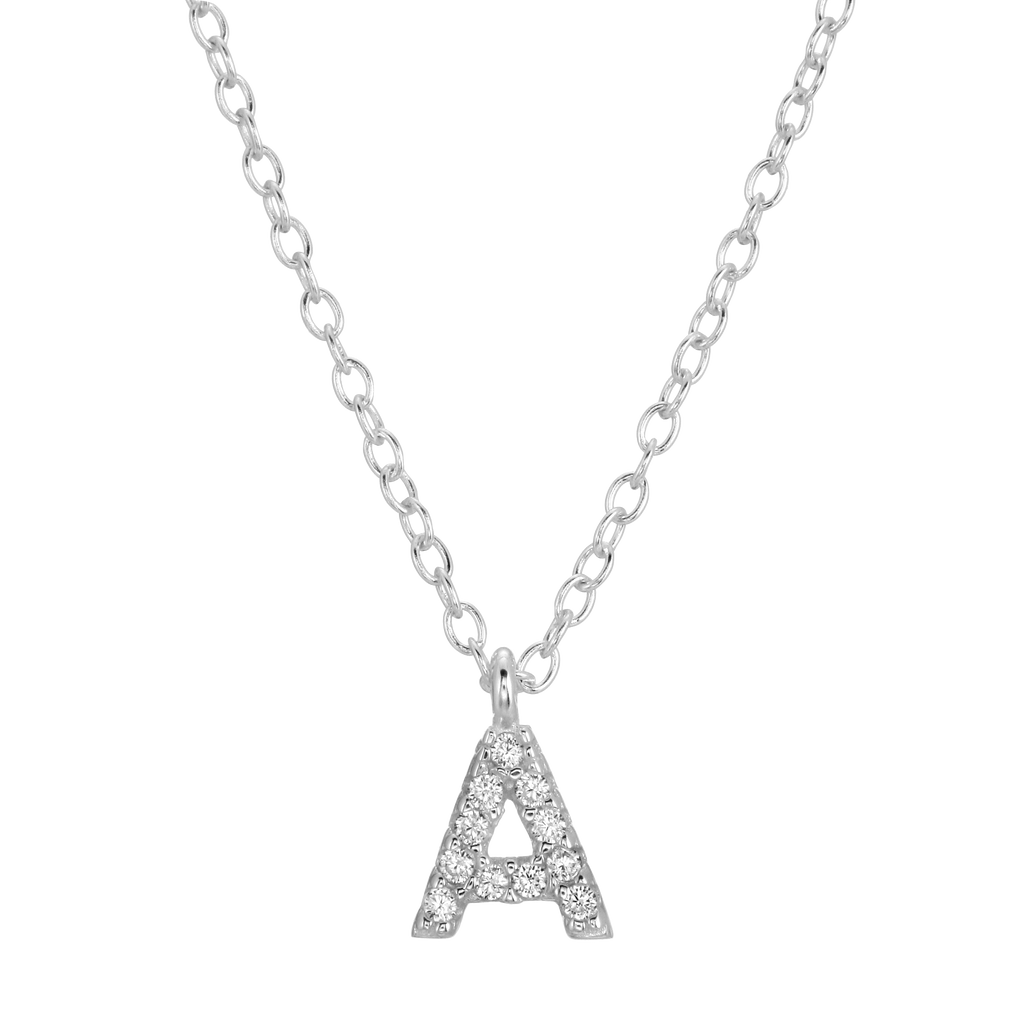 Pavé Initial Necklace - Sterling Silver