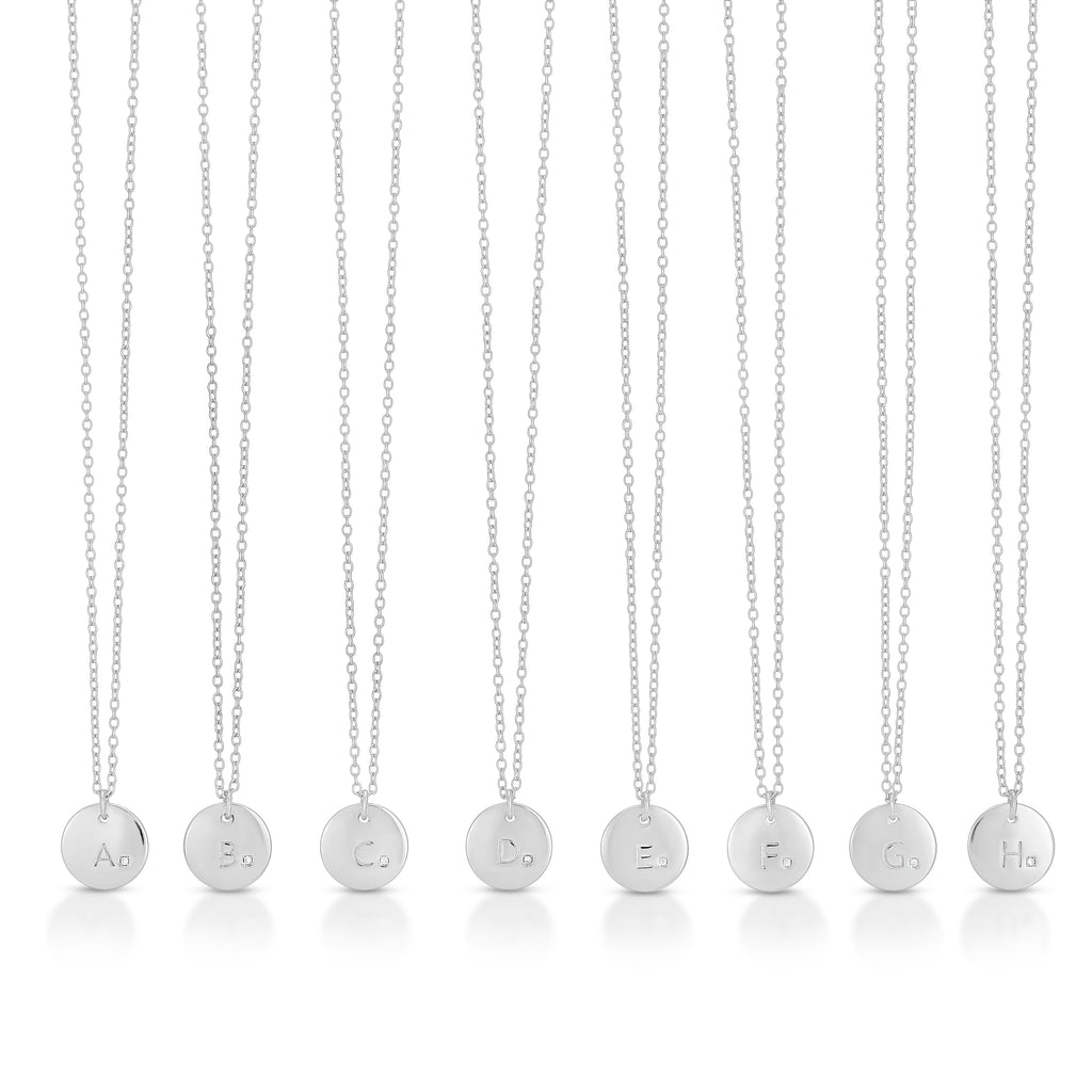 Letter Disc Necklaces - Sterling Silver