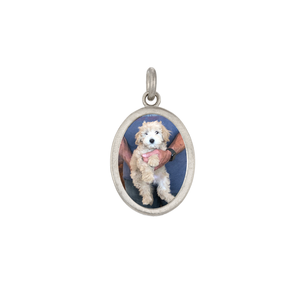 Oval Photo Charm - Nickel-Sized - Sterling Silver