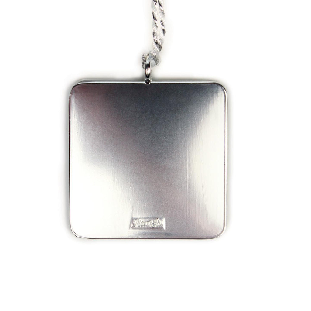 Simple Square Ornament with Love Tag - Silver