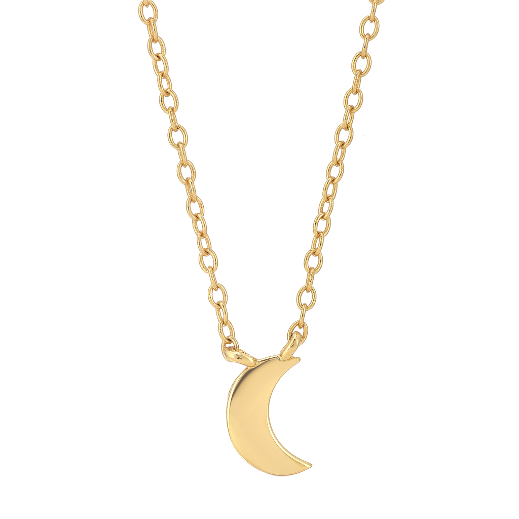 Tiny Moon Necklace - 14k Gold Vermeil