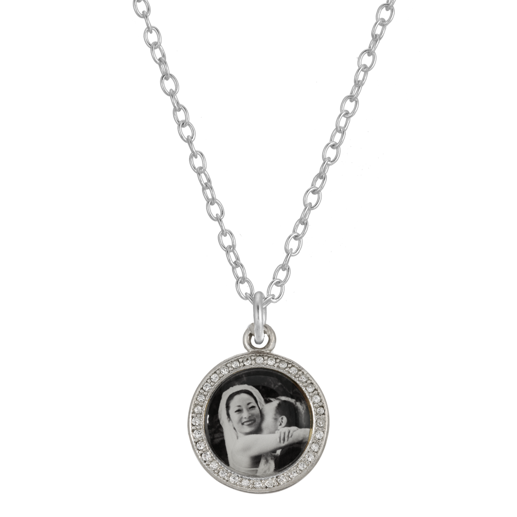 Sparkle Round Photo Necklace - Sterling Silver