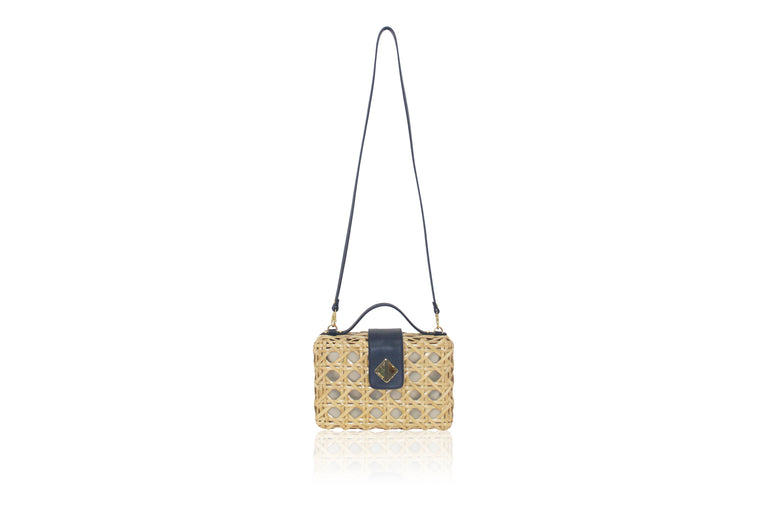 Charlie Satchel Natural with Navy Blue Leather