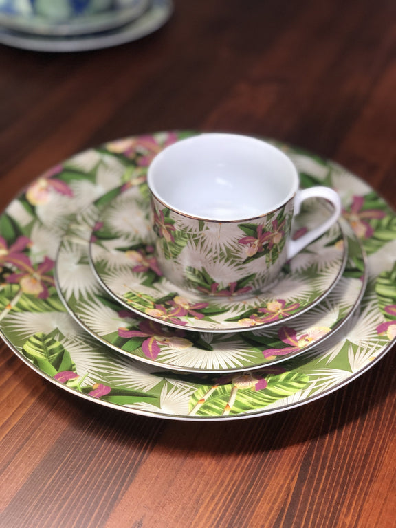 Flora Anahaw Cup and Saucer Magenta & Green (Set of 6)