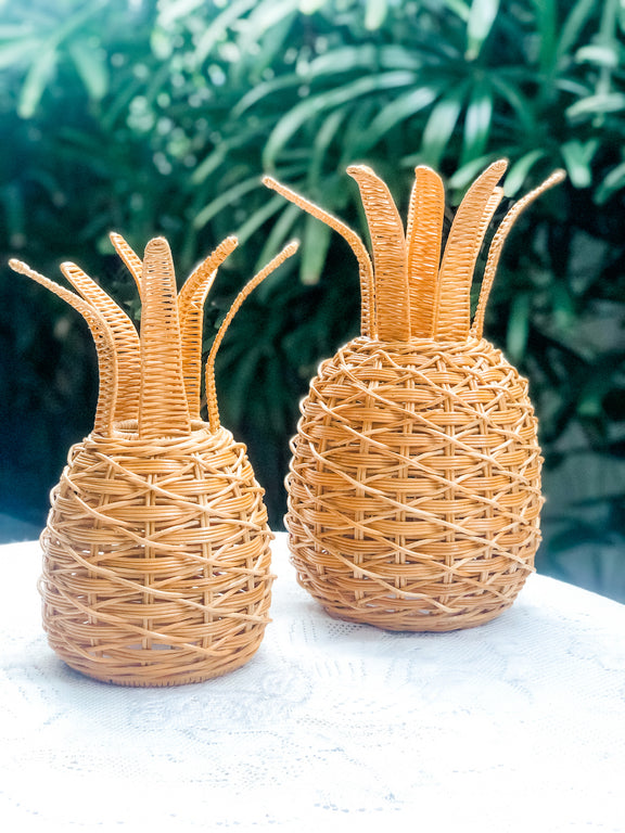 Wicker Pineapple Table lantern (large)