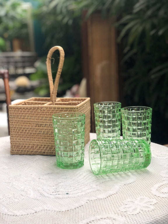Weave Drinking Glass (set of 4) & Basket holder - Green