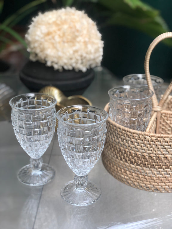 Weave Goblet (set of 4) & Basket holder
