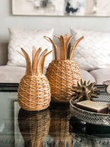 Wicker Pineapple Table lantern (small) PREORDER