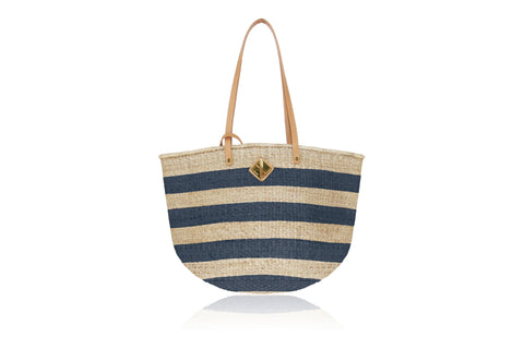 Carrie City Natural and Navy Stripes