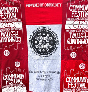 Hand-sewn ComFest T-shirt quilt - Red/Grey 3X3