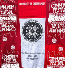 Load image into Gallery viewer, Hand-sewn ComFest T-shirt quilt - Red/Grey 3X3