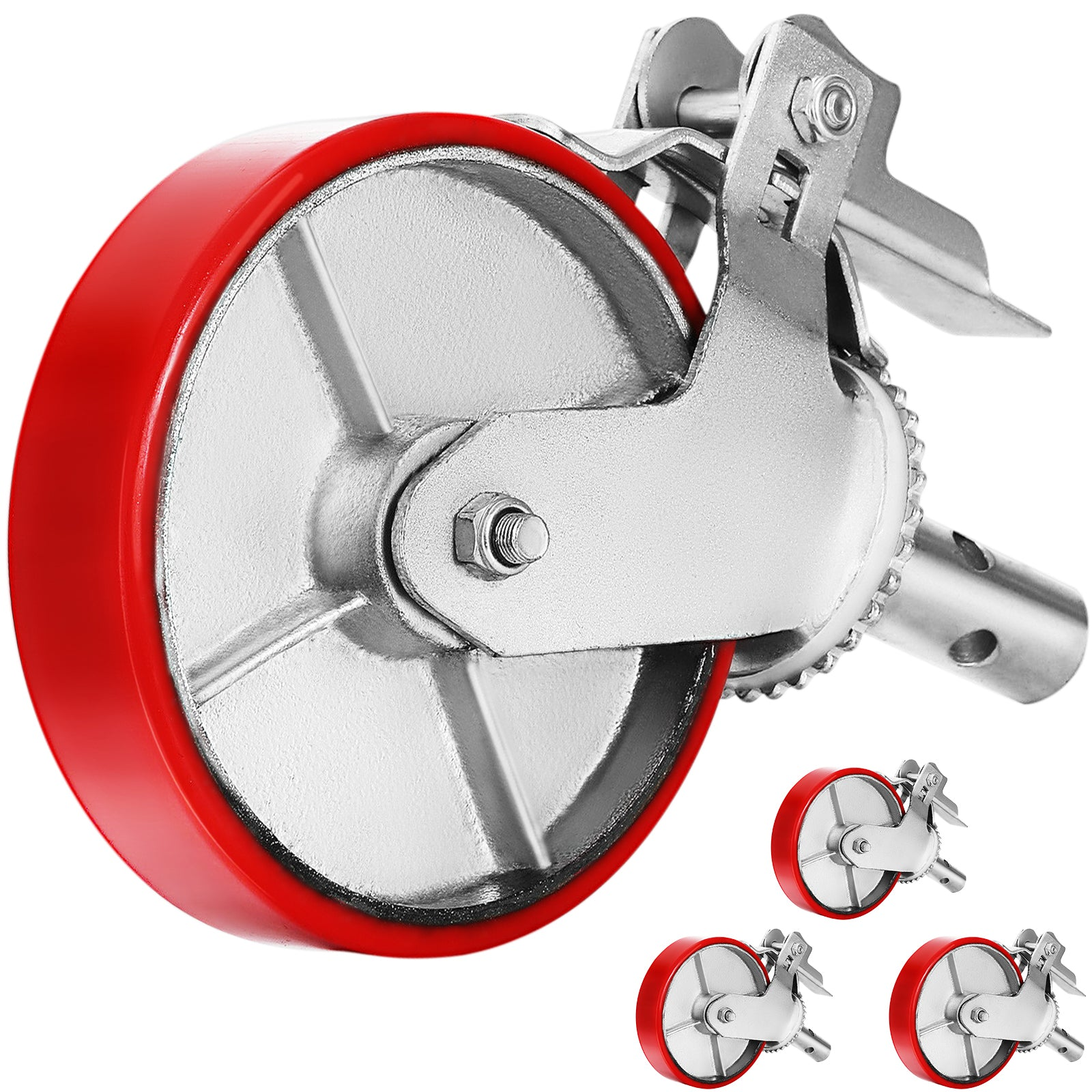 "8"" X 2"" Scaffolding Casters Polyurethane Swivel Caster Wheels (set Of 4) Hot"