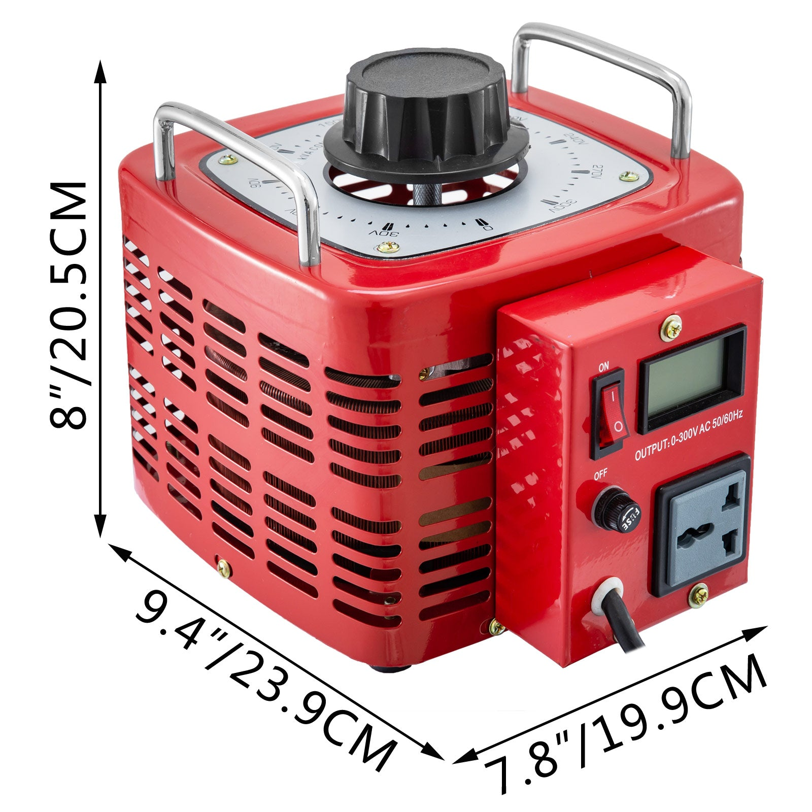 Transformateur Variable 3kva Protection De Sécurité Ecran Lcd 0-300v 12a Rouge