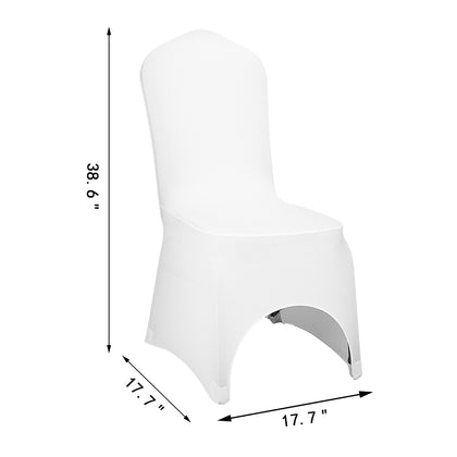 100pcs Couverture Housse De Chaise Arqué Blanc Elastique Spandex Chair Cover
