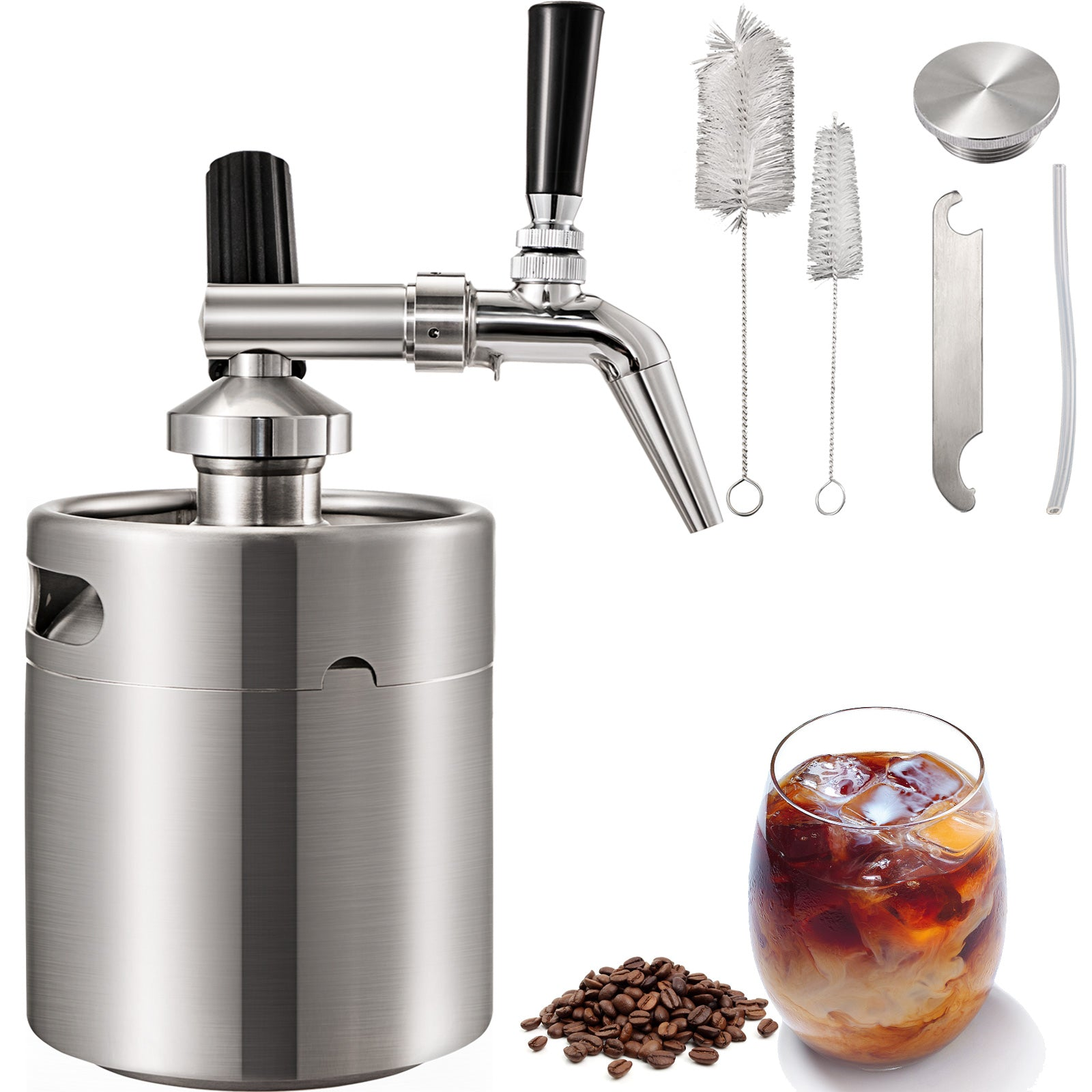 Cafetière à Piston Inoxydable Cold Brew 5000ml Café Thé Extraction à Froid