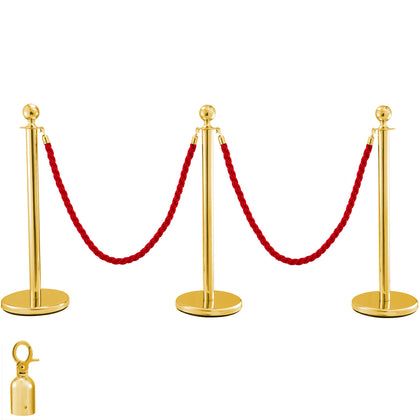 Crowd Control Stanchion 3 Gold Pillar 2 Red Ropes Ball Round Top Hotel Mall