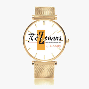 "Montre quartz fashion ultra mince ""RéZonans"" (avec indicateurs)"