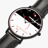 "Montre quartz ultra plate ""Lignerouge"" (Black - avec indicateurs)"